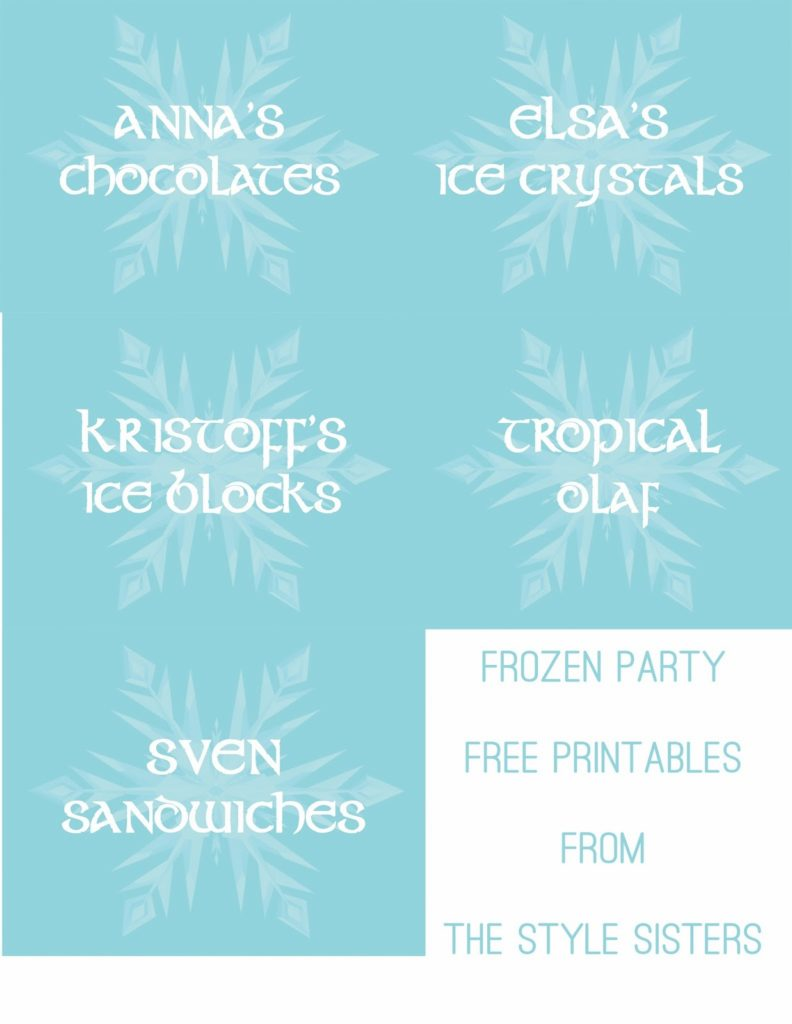 Disneys Frozen Party Games And Food Labels Karins Kottage