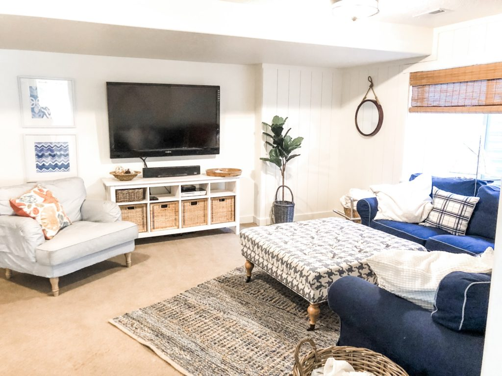 Navy and White Basement makeover with vertical shiplap