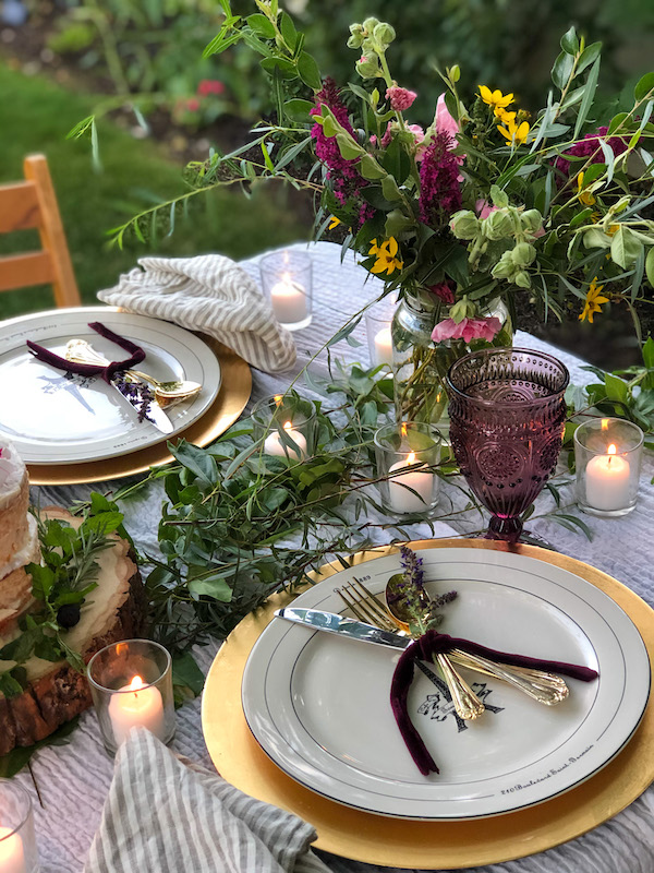 Romantic Outdoor dinner for two at home inspired by French Country Cottage book Inspired Gatherings - Karins Kottage